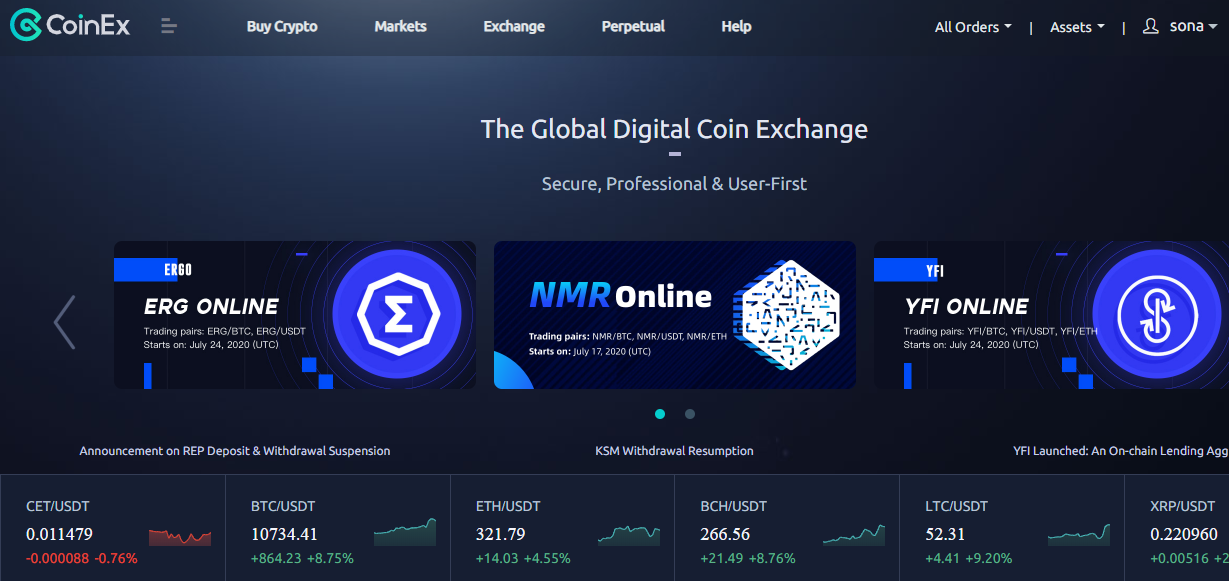 COINEX EXCHANGE FRONT PAGE